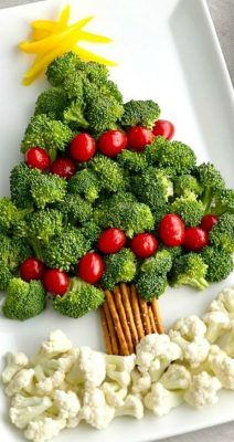 "Tree Vegetable Platter ~ A broccoli and tomato ""tree"" with a pretzel ""trunk"" and cauliflower ""snow"" makes for a memorable and easy Christmas appetizer! MoreChristmas Tree Vegetable Platter ~ A broccoli an. Christmas Snacks, Xmas Food, Christmas Cooking, Christmas Goodies, Holiday Treats, Holiday Recipes, Christmas Dinners, Christmas Party Appetizers, Christmas Tree Veggie Tray"