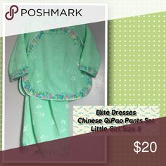 ✨Chinese✨QiPao✨Pants✨Set✨ Elite Dresses light green Chinese QiPao Pants Set. Little girl size 5. Excellent condition. Elite Dresses Matching Sets