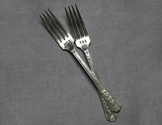 """""""His"""" and """"Hers"""" dessert forks, so cute!"""