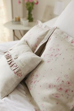Here is our Faded Pink Roses teamed with Paisley frill cushion, made to order available at Peony and Sage. I do love a feminine bedroom but it has to stop at cushions & curtains according to my husband!