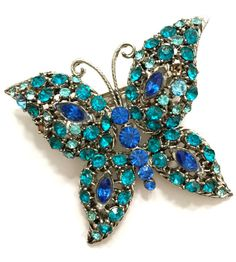 Shades of Blue Butterfly Brooch by Vintageimagine on Etsy