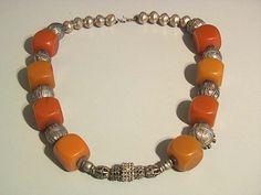 Vintage Yemen silver and cubical amber necklace. door tribalgallery, $350.00