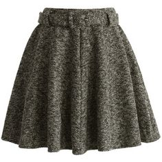 Chicwish Coffee Belted Twill Skater Skirt