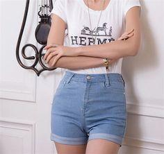 2016 New Summer High Waist Stretch Denim Shorts Slim Korean Casual women Jeans Shorts Hot Plus Size