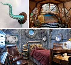 16 Incredible Submarine-Themed Rooms... featuring awesome Jules Verne decor and... the ArtAkimbo Wall Tentacle