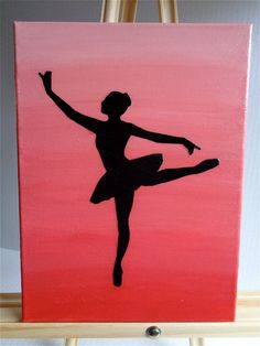 "Hanging wall art, home decor, mix media art, ""Pink Ombre Ballerina Silhouette"", acrylic paint, canvas, scrapbook paper"