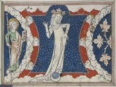 Detail of the woman clothed with the sun, with the moon beneath her feet, from the Queen Mary Apocalypse, S.E. England or East Anglia, 1st quarter of the 14th century, Royal MS 19 B XV, f. 20v