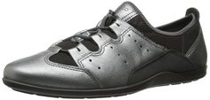 Ecco Footwear Womens Bluma Toggle Dress Sandal, Dark Shadow, 40 EU/9-9.5 M US. Sporty shoe featuring metallic-tone upper with stretchy underlay and perforated side panels. Single-pull bungee lacing system.