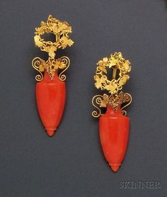 Victorian 9kt Gold and Coral Earpendants