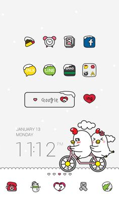 """[Character Theme] """"Ggoggo Love by Dodol Launcher"""" Simple and clean theme of a cute little chicken couple in love!"""