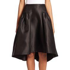 Phoebe Taffeta Hi-Lo Skirt featuring polyvore fashion clothing skirts apparel & accessories black ruched skirt long skirts black taffeta skirt black knee length skirt high-low skirt