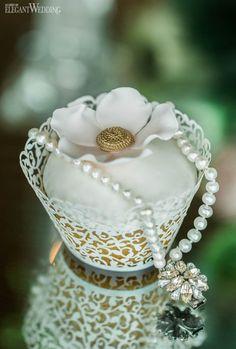 Elsa Corsi 2 row pearl bracelet click to se e more details on this Glamorous Indoor Garden Wedding | ElegantWedding.ca