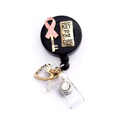 3D Key to the Cure Pink Ribbon Retractable Badge Holder