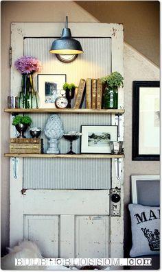 Vintage Door Lighted Display Shelf