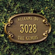 "Genoa Address Plaques - Bronze/Gold, Wall - Grandin Road by Grandin Road. $109.00. Harsh weather and passing seasons will have virtually no effect, thanks to sand-cast aluminum construction. Durable finishes resist rust and retain the rich colors, even in blistering sun. Lawn plaques include 18"" stakes. Harsh weather and passing seasons will have virtually no effect, thanks to sand-cast aluminum construction. Durable finishes resist rust and retain the rich col..."