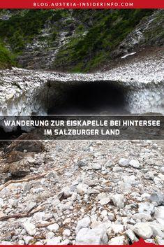 """Die Wanderung zur Eiskapelle ist eine leichte Kurzwanderung, die am Hintersee im Salzburger Land startet und im weiteren Verlauf vorwiegend entlang des Grießbaches führt. An der Eiskapelle selbst kann je nach Schneeverhältnissen im Winter bis in den Hochsommer noch Schnee zu finden sein. Dieser Restschnee bildet dann teilweise sehr schöne Höhlen. Daher kommt auch der Name """"Eiskapelle"""". Hallstatt, Austria, Winter, Travel, Outdoor, Europe, Hiking Trails, Road Trip Destinations, Winter Time"""