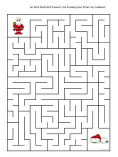 Christmas Crafts For Kids, Christmas Printables, Christmas Diy, Winter Activities, Activities For Kids, Free Printable Puzzles, Maze Worksheet, Mazes For Kids, Maze Game