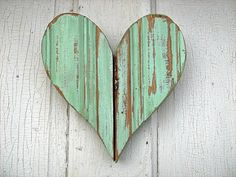 Recycled Wood Mint Green Heart by woodenaht - for your hearts board - very pretty and rustic Diy Inspiration, I Love Heart, Wooden Hearts, Recycled Wood, Recycled Materials, Heart Art, Be My Valentine, Belle Photo, My Favorite Color