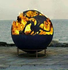 Gorgeous Dragon Fire Pit Up North Fire Pit Sphere Dyo Design Your Own Custom Firepit fire pits custom Wonderful Spherical Fire Pits Ideas - Go Travels Plan Fire Pit Sphere, Metal Fire Pit, Diy Fire Pit, Fire Pit Backyard, Dragon Fire Pit, Garden Art, Garden Design, Outside Fire Pits, Deco Restaurant