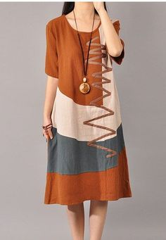 # Color advice # Style advice with www. Linen Dresses, Cotton Dresses, Casual Dresses, Summer Dresses, Hijab Fashion, Boho Fashion, Fashion Dresses, Woman Dresses, African Dress