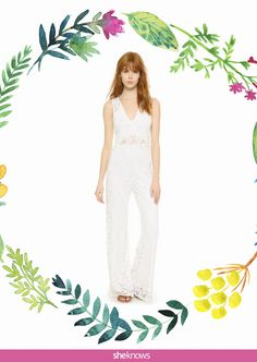This one is flower power to the nth degree. It too has a plunging V-neck (popular with these wedding jumpsuits) but is finished with delicate flowers and a peekaboo lace-covered midriff for a hint of sexiness.