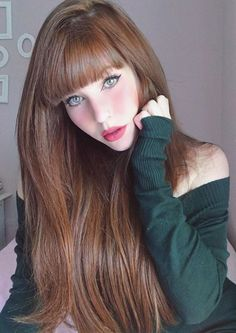 Trendy Hair Color : Pale Auburn Color ❤️ Summer hair colors 2018 will . Long Hair With Bangs, Short Hair With Layers, Short Hair Updo, Very Long Hair, Long Hair Cuts, Short Hair Styles, Thick Bangs, Straight Bangs, Hair Color 2018
