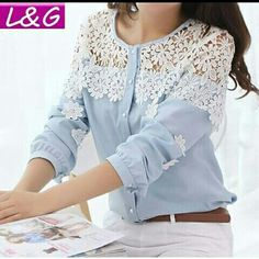 Cheap blouse shoulder, Buy Quality shirts for short guys directly from China shirt Suppliers: 2014 Spring And Summer Women Blouse Long Sleeve Hollow Out Lace Blusas Lace Patchwork Chiffon Shirt Blouse Lace Shirt Diy Fashion, Ideias Fashion, Fashion Outfits, Womens Fashion, Street Fashion, Diy Vetement, Mode Hijab, Chiffon Shirt, Mode Outfits