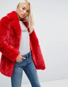 0a777773c29 Discover Fashion Online Red Faux Fur Coat, Red Fur, Fox Fur Coat, Faux