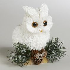 natural fiber owl | Paper Owl on Stump with Natural Pinecones