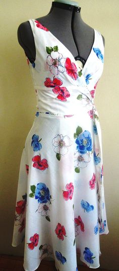 Floral cotton wrap very pretty summer dress Limited by elegance50s, $89.00