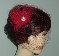 Red Birdcage Veil with Ostrich Feather Fascinator by AnnLeslie, $85.00