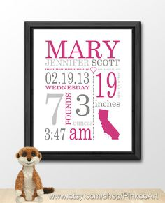 personalized baby prints, nursery decor baby shower gift, personalised baby announcement, baby boy birth stats, nursery subway, birth stats by PinkeeArt, $17.00