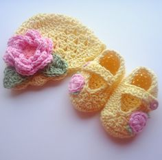 Crochet Baby Hat and Booties Set, Hand Crocheted Beanie Hat and Mary Jane Booties Set, 0-3 Months, Light Yellow, Pink, MADE TO ORDER. $38.00, via Etsy.