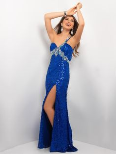 ROYAL BLUE BEADED ONE SHOULDER SWEETHEART HIGH SLIT SWEEP TRAIN LONG SEQUIN LACE PROM DRESS