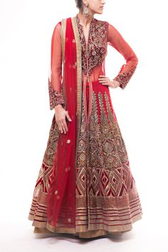 Gorgeous deep red long net kameez with velvet yoke embroidered with kasab embroidery and gotta borders paired with lehenga and net dupatta