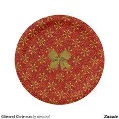 Glittered Christmas Paper Plate