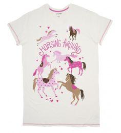 Hatley Horsing Around Sleepshirt Cream & Pink