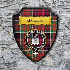 MacIsaac Shield Plaque with Scottish Clan Coat of Arms Badge on Clan Plaid Tartan Background Wall Art by YourCustomStuff on Etsy https://www.etsy.com/listing/565222921/macisaac-shield-plaque-with-scottish