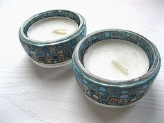 2 Turquoise Retro Polymer Clay T-light Holders