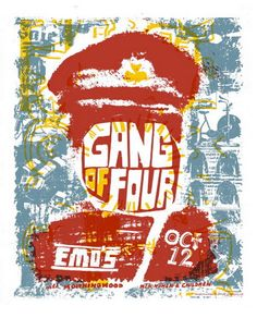 Gang of Four Concert Poster at Emos- Austin, TX Oct 12, 2005 hand made silkscreen print poster measures 20 inches x 25 inches hand signed & numbered edition of 210 artist:  Bryan Keplesky