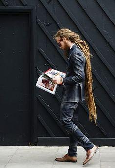 Locks neat, suit and tie