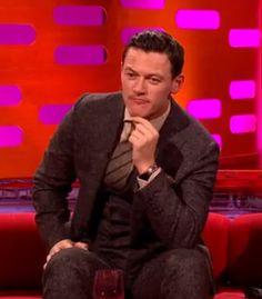Luke Evans tweed three piece suit