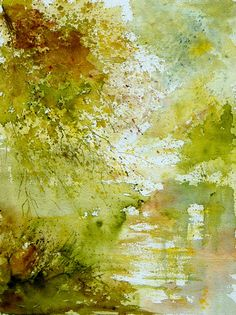 Buy Prints of watercolor 211005, a Watercolor on by Pol Ledent from Belgium. It portrays: Nature, relevant to: pond, trees water, lake, landscape, nature watercolor