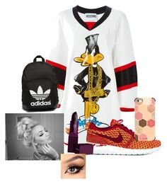 """""""Untitled #17"""" by dachiri on Polyvore featuring Moschino, NIKE, Casetify, Lipstick Queen and adidas Originals"""