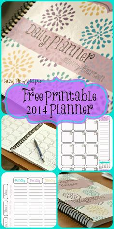 Free Printable 2014 Planner. Monthly spread, daily tasks, contact list, notes, menu plan, shopping list and more! from www.BusyMomsHelper.com