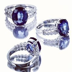6 Carat Oval Sapphire & Diamond Ring -#pingagement and #helzbergdiamonds