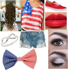 Really love this Fourth of July outfit (with different colored bows)