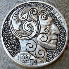 Doug Sutherland Hobo Nickel: Scrollhead - 1937 Buffalo Nickel Hobo Nickel, Buffalo, Coins, Carving, Personalized Items, Rooms, Wood Carvings, Sculptures, Printmaking
