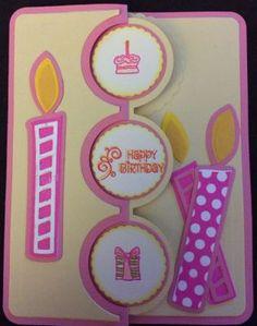 Birthday card, Supplies: Sizzix Framelits Die Set - Card, Triple Circle Flip-its Flip Cards, Folded Cards, Cute Cards, Birthday Crafts, Handmade Birthday Cards, Greeting Cards Handmade, Punched Card, Scrapbook Cards, Scrapbooking