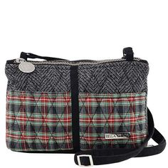 Ivy Essentials - The Essentials from our Ivy Collection features a red, green and black plaid on the front pockets and back wallet compartment accented by a monochromatic black and gray tweed. With a jet black microsuede trim, base and adjustable strap, the wallet compartment is lined in black nylon and all stress points are reinforced. Measuring 7.50x2.5x5.5